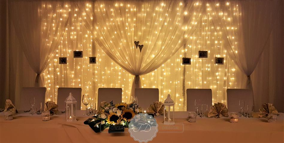 svadobna vyzdoba svetelna stena paravan